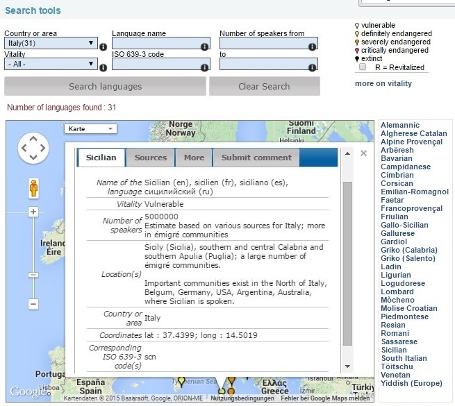Das Sizilianische - Wunderbar verwundbar. ©Moseley, Christopher ed.. 2010. Atlas of the World's Languages in Danger, 3rd edn. Paris, UNESCO Publishing