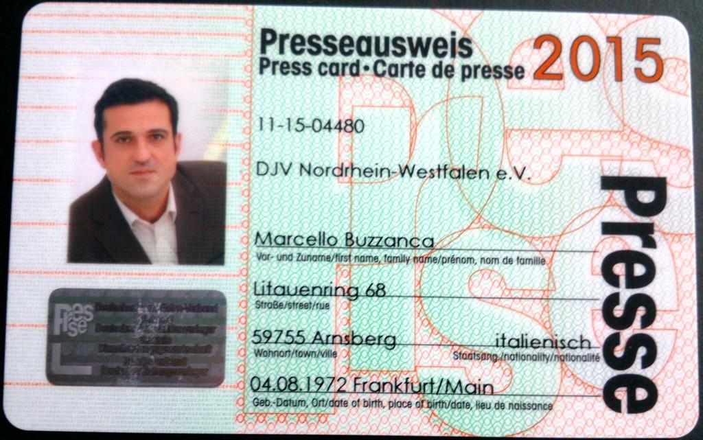 Presspartout-Ausweis Marcello Buzzanca