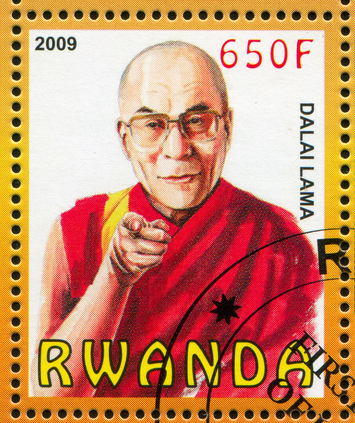 Stamp printed by Rwanda, shows Dalai Lama, circa 2009_1599773©clipdealer.de
