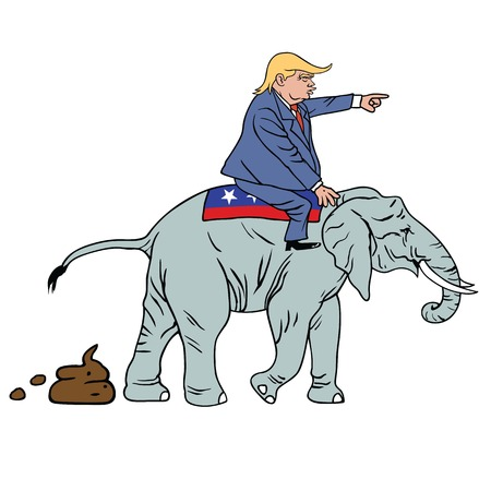 Donald-Trump-Riding-Republican-Elephant_A61947734-©clipdealer.de